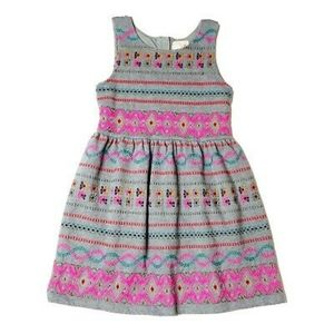 Peek grey colorful embroidered dress girls size XL